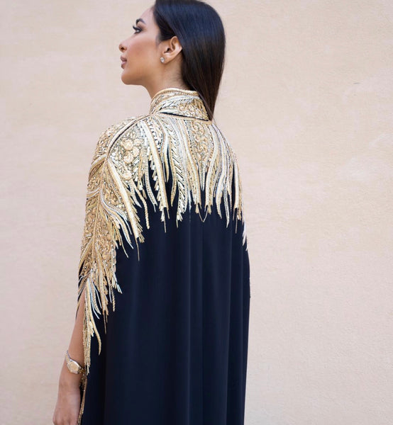 RAM19 SHAMSA BLACK EMBELLISHED CAPE