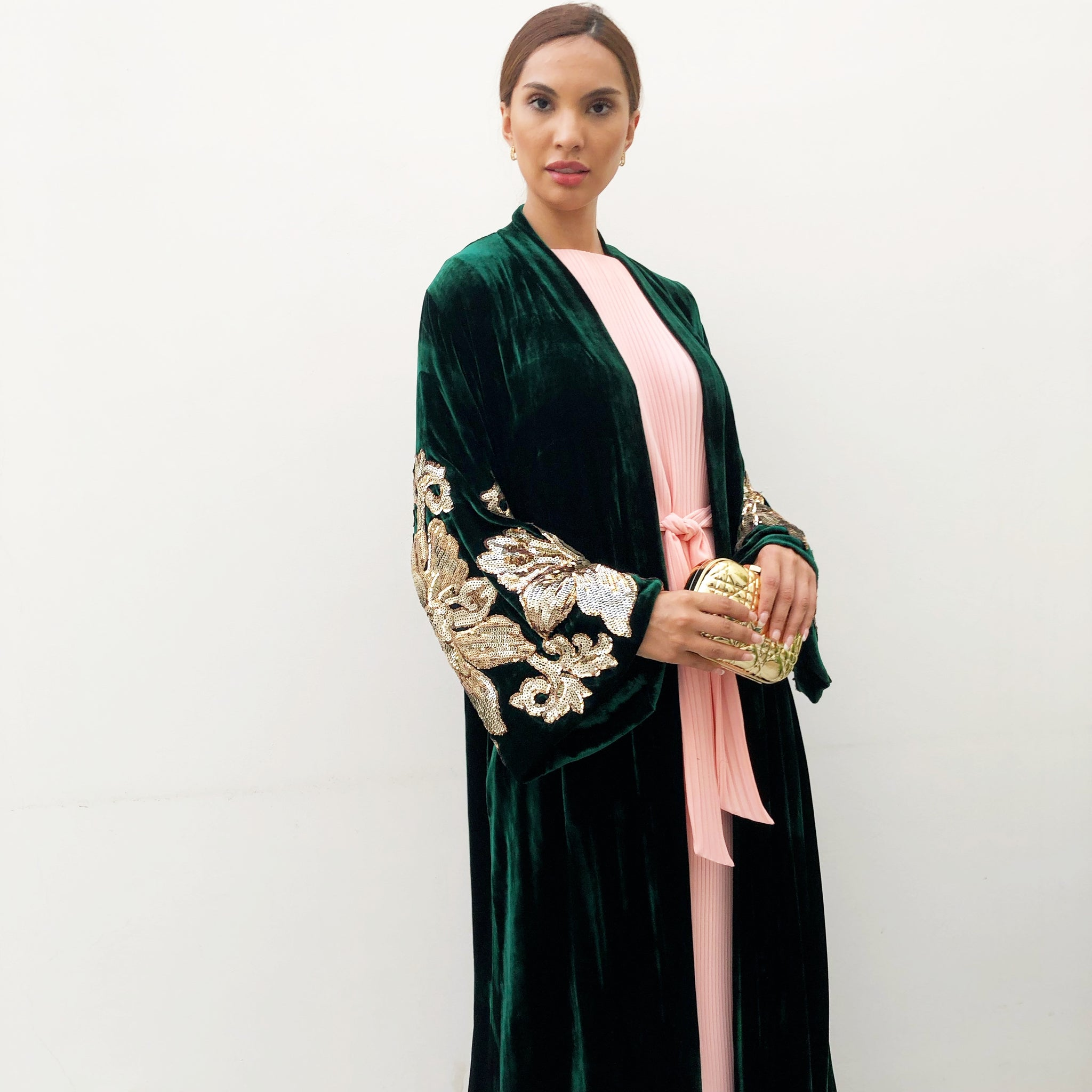 RAMADAN 18 EMERALD GREEN GOLD SEQUINS VELVET ABAYA