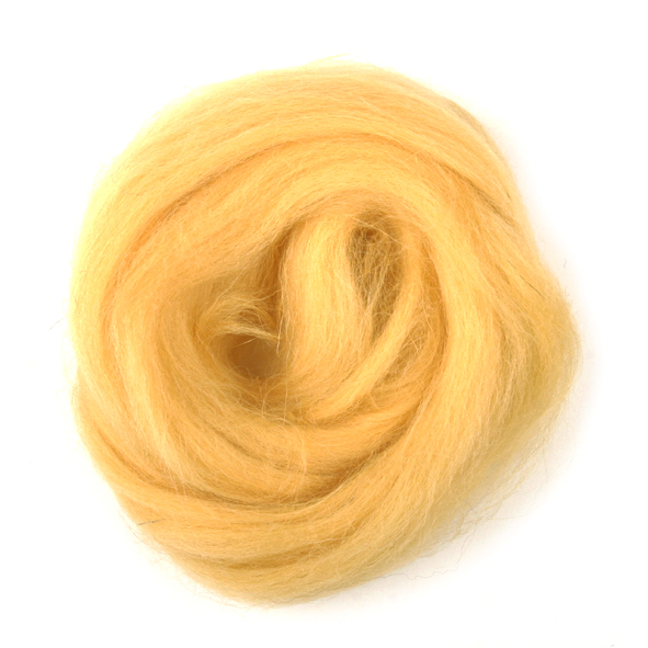 Natural Wool Roving: 10g: Yellow