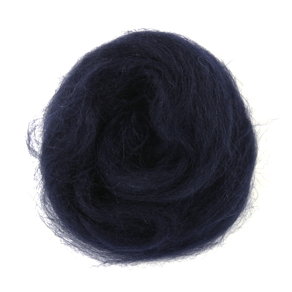 Natural Wool Roving: 10g: Navy