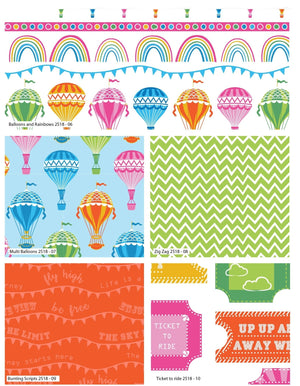 Hot Air Balloons by Stuart Hillard Fat Quarter Bundle - White