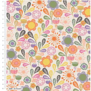 100% Cotton Fabric - Meadow Birds Flowers - 43""