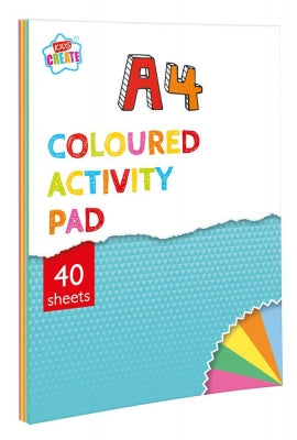 Kids Create 40 Sheet A4 Coloured Activity Paper Pad