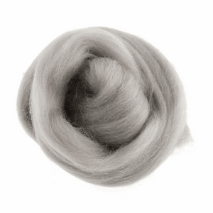 Natural Wool Roving: 10g: Light Grey