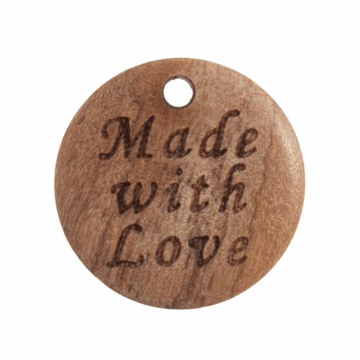 "18mm Natural Wood Button Tag: ""Made with Love"""