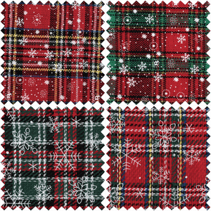 Printed Christmas Tartan Fat Quarter Bundle: Reds