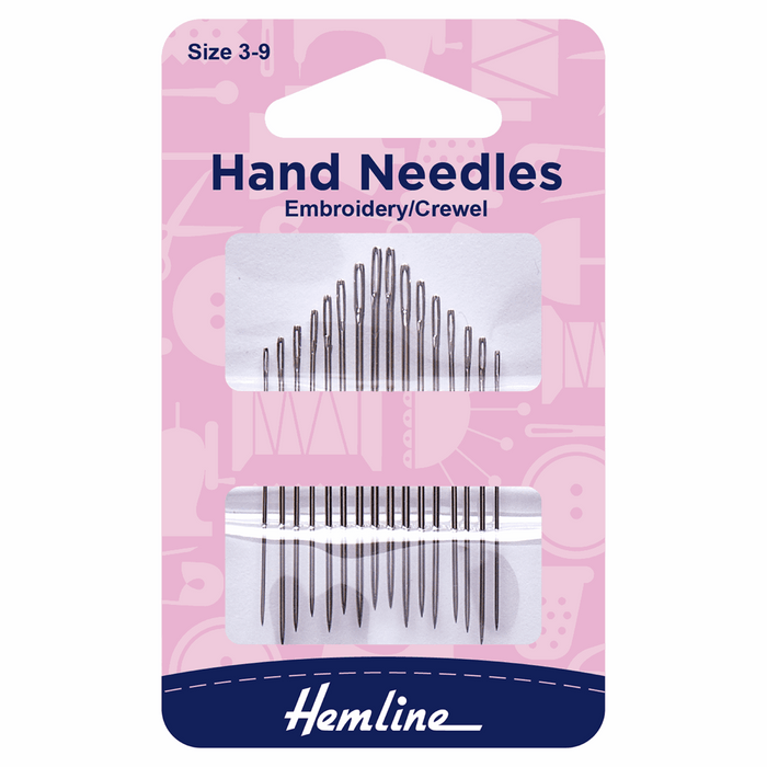 Hemline Hand Sewing Needles: Embroidery/Crewel: Size 3-9
