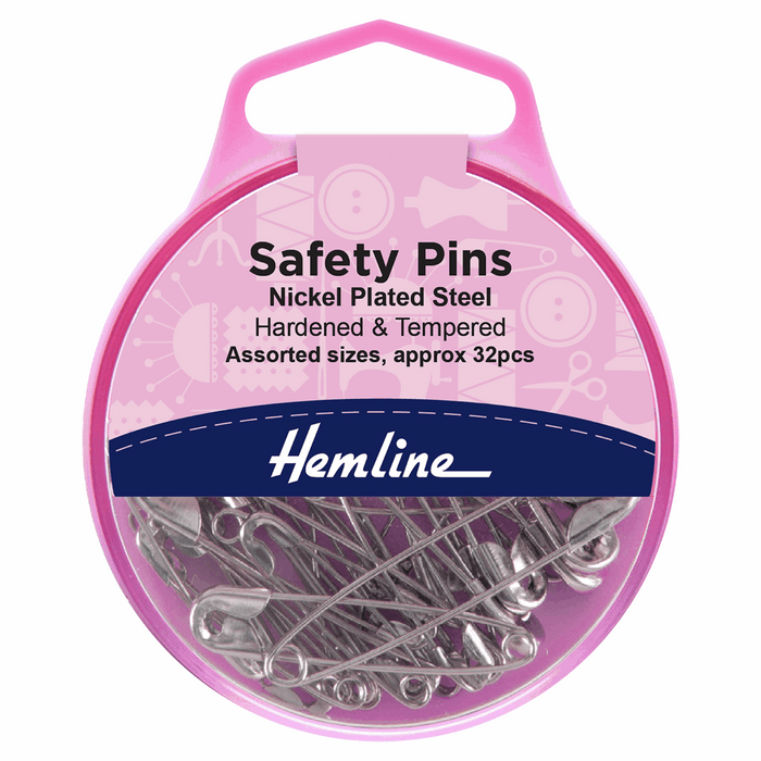 Hemline Safety Pins: Assorted Sizes - 32pcs