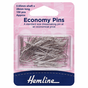 Hemline Economy Pins: Nickel: 28mm - 150pcs