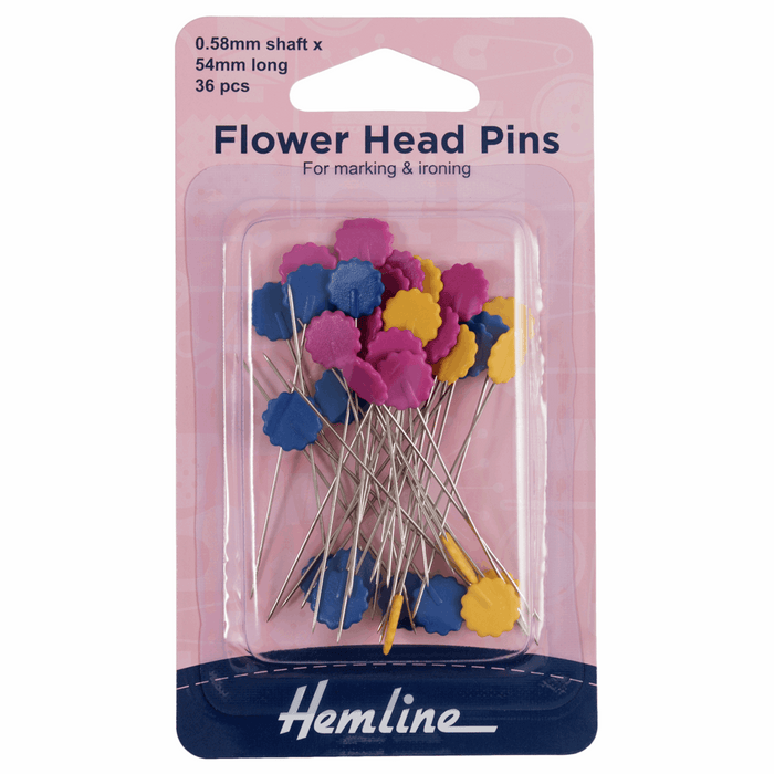 Hemline Flower/Flat Head Pins: Nickel 54mm - 36pc