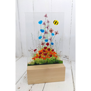 Handmade Fused Glass 'Poppy Field' Candle Shield Ornament in Stand