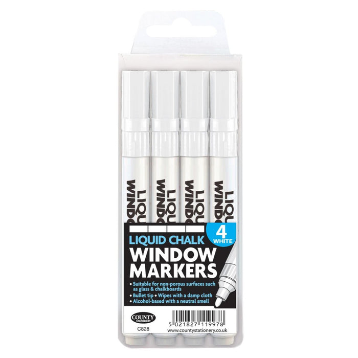 Liquid Chalk Window Marker Pens White - 4pk