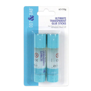 Dot & Dab Transparent Glue Stick: 15g x 2