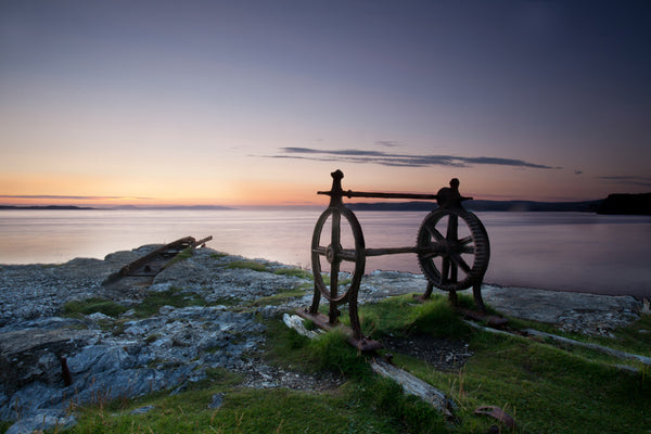 Old winch at Kenbane at sunrise