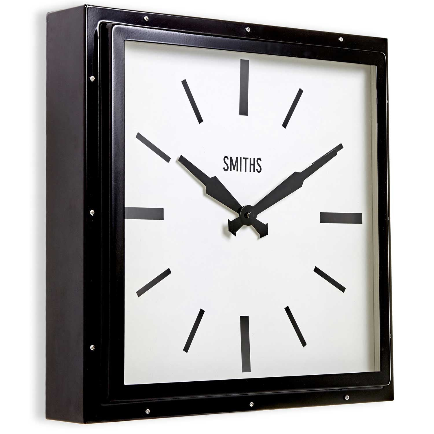smiths modern square wall clock  cm  britain can make it -  smiths modern large square wall clock black side view