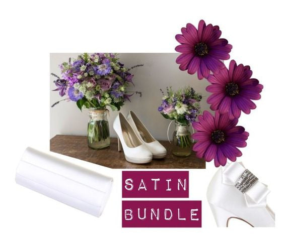 bridal Bundle - ivory satin - wedding shoes eliza - envelope handbag greta - callisto clip-on - rainbow club - fabwedding