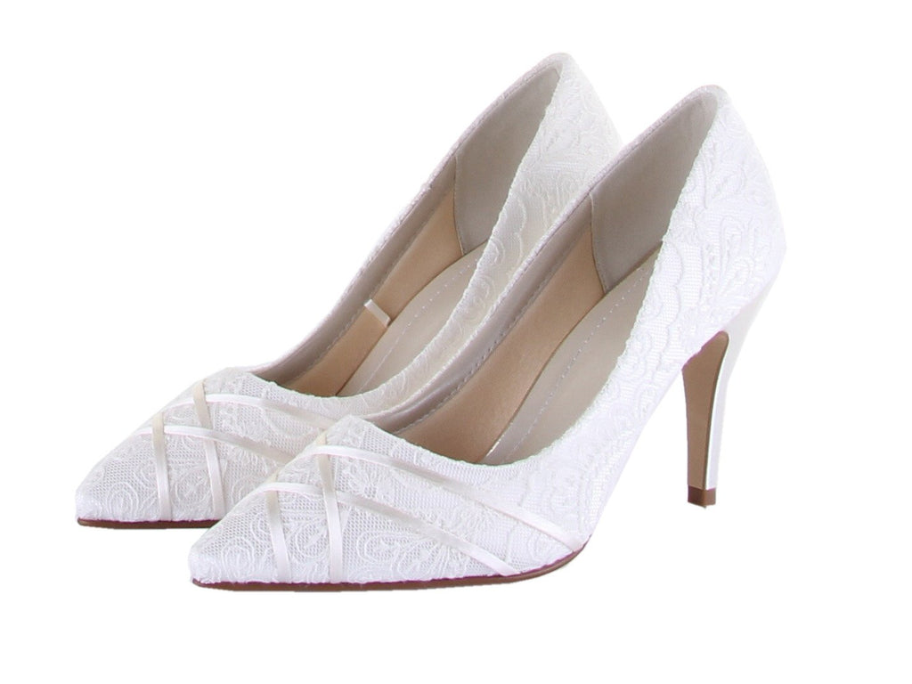 Bridal Shoes - Rainbow Club - Lace - Ivory - Court - Stiletto - Ashleigh - FABWedding