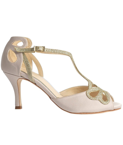 Bridal Shoes - Love Art Wear Art - Size UK / 4; / Ivory and Gold - Bella Ivory - FABWedding - 1
