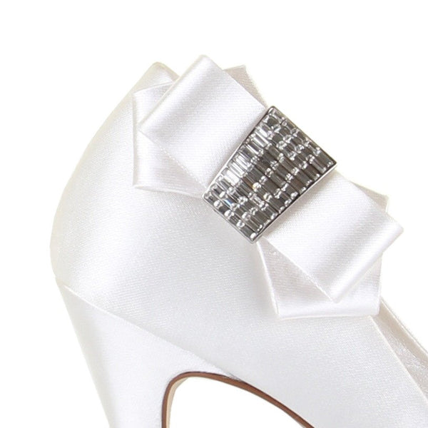 Shoe Clip On - Rainbow Club -Bow - Ivory - Crystal center - Callisto - FABWedding