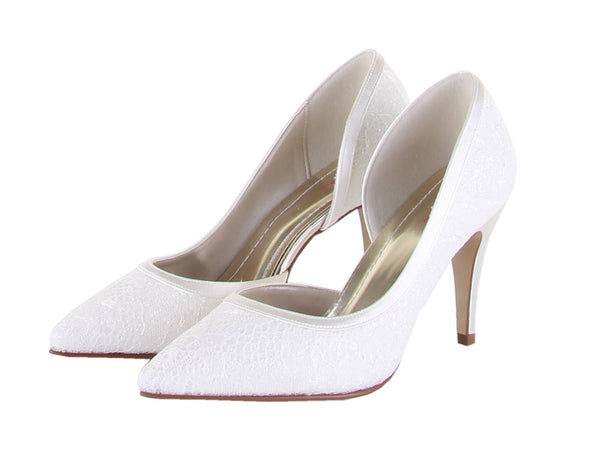 Bridal Shoes - Wedding Shoes UK - Rainbow Club - Shimmer Lace - Court - Ivory - Esme - FABWedding