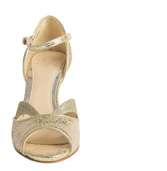 Bridal Shoes - Love Art Wear Art - Peep Toe - Marlene Gold - Champagne Gold -FABWedding