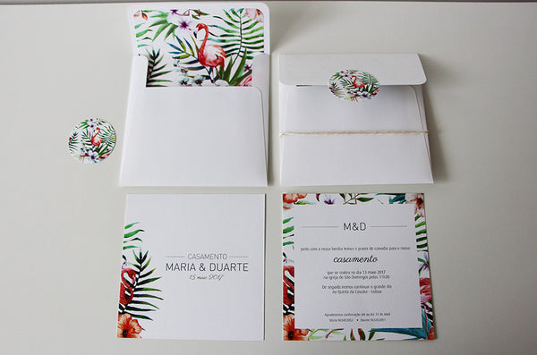 Flamingo Wedding Invitation - Wedding Invitation UK - Affordable Wedding Invitation - Fabwedding