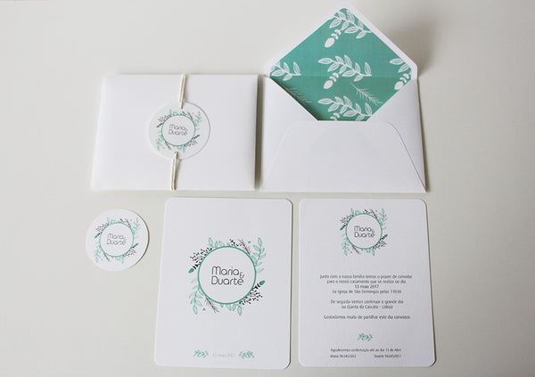 aqua wedding invitation - flower wedding invitation - affordable wedding invitation - fabwedding