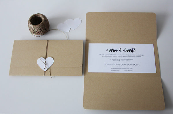 folded rustic wedding invitation - affordable wedding invitations - fabwedding
