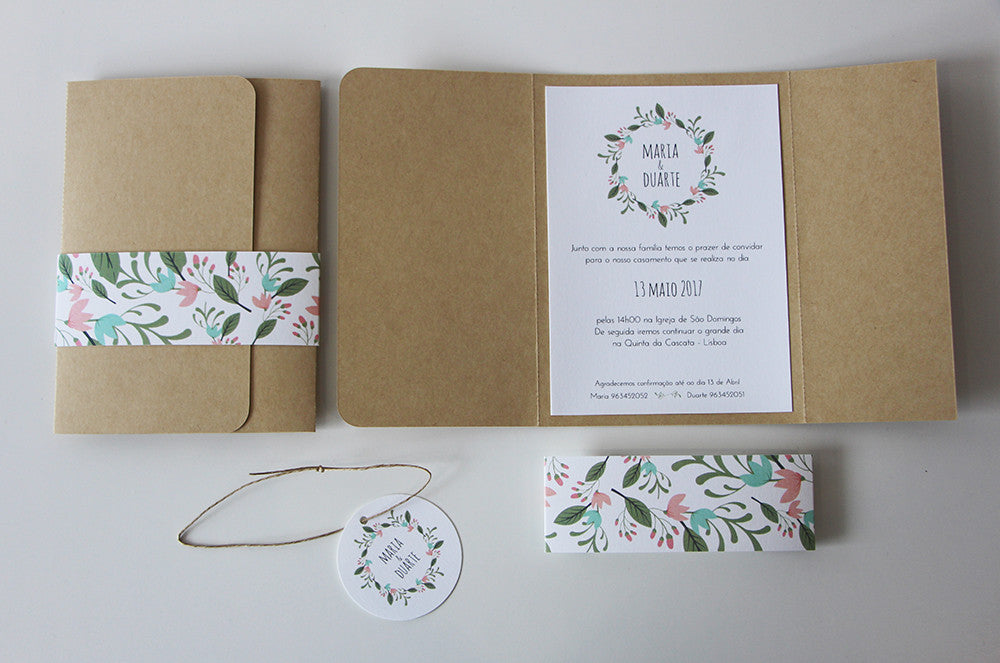 rustic wedding invitation - spring leaves theme - custom wedding guests tag - fabwedding