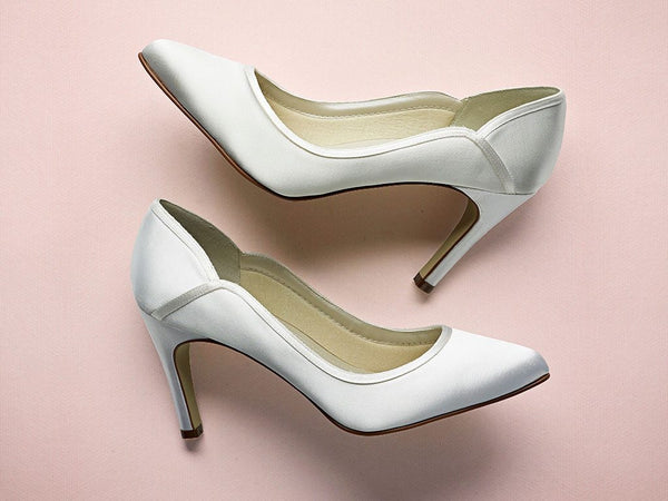 Rainbow Club - Lucy - Court Bridal Shoes - Ivory Satin Bridal Shoes - Ivory Satin Wedding Shoes - Wedding Shoes UK - FABWEDDING.biz
