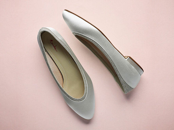 Bridal Shoes - Rainbow Club - Ivory - Satin - Low heel - Stevie - FABWedding