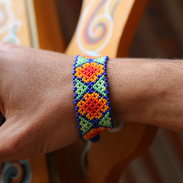 Colorful Payote Flowers - Original Huichole Bracelet