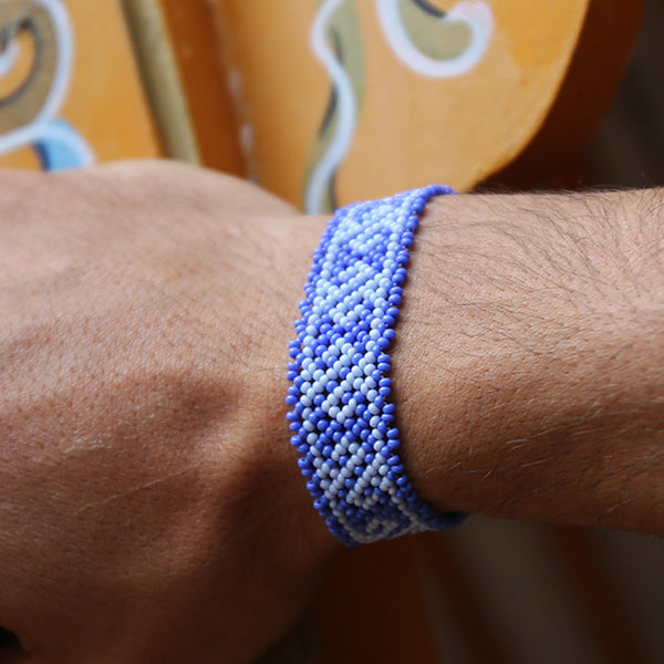 Blue Waves - Original Huichole Bracelet