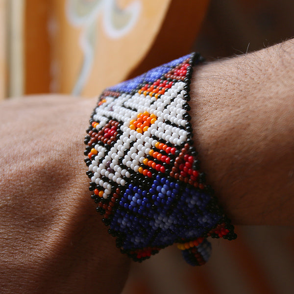 Blue Payote Eagle - Original Huichole Bracelet