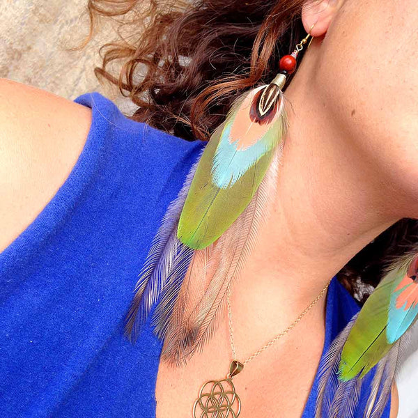 Royal Green Feather Earrings