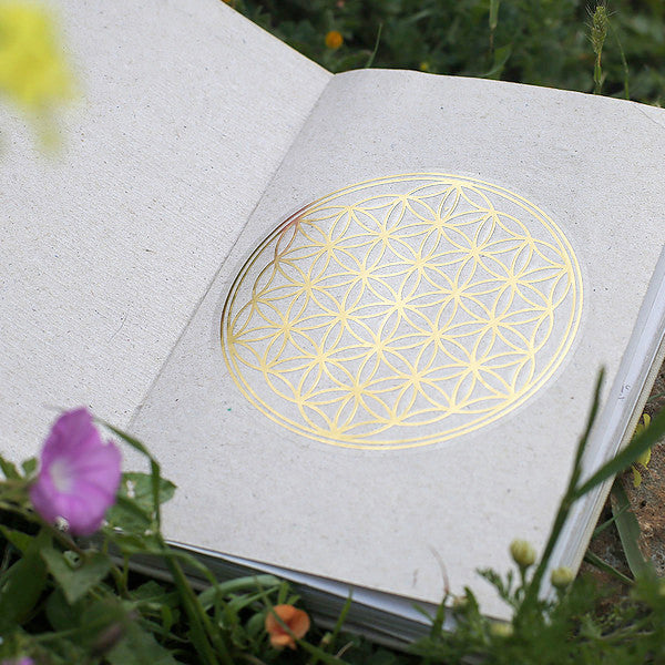Flower Of Life Primium Quality Golden Stickers - Medium