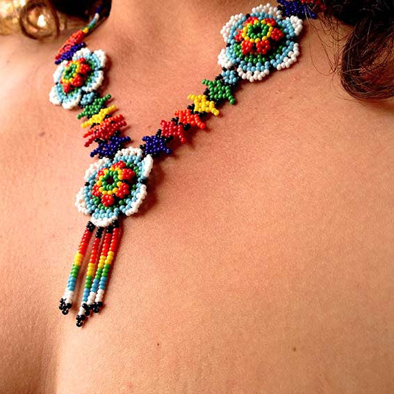 Colorful Payote Flowers Necklace
