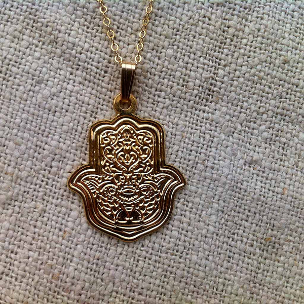 "Engraved ""Hamsa"" - Gold Plated Pendant"