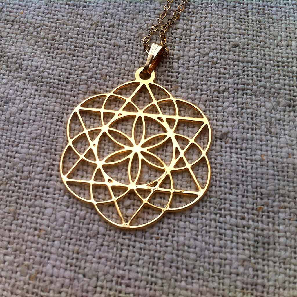 Star of david inside the seed of life gold plated pendant star of david inside the seed of life gold plated pendant aloadofball Images