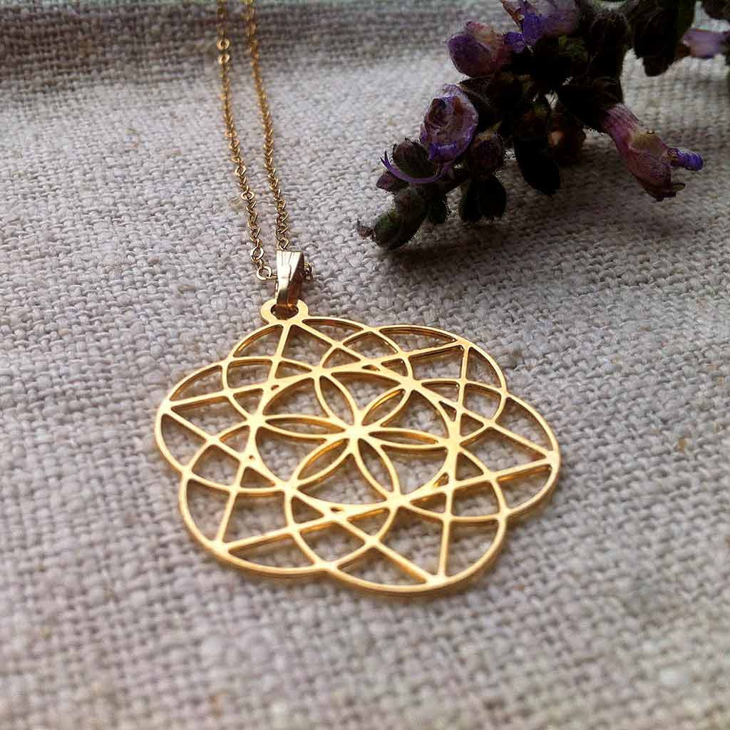Star of david inside the seed of life gold plated pendant star of david inside the seed of life gold plated pendant aloadofball Image collections