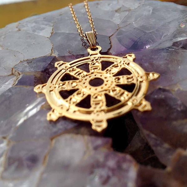 The Wheel of Dharma - Gold Plated Pendant