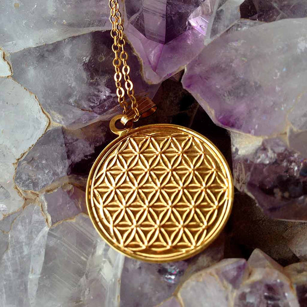 Engraved Flower of Life - Gold Plated Pendant