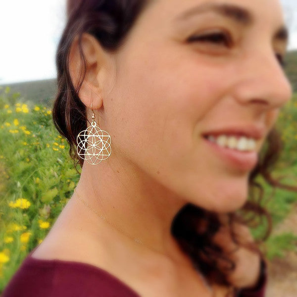 Star of David inside the Seed of Life - Gold Plated Earrings