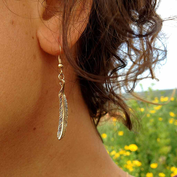 Spirit Feather - Gold Plated Earrings