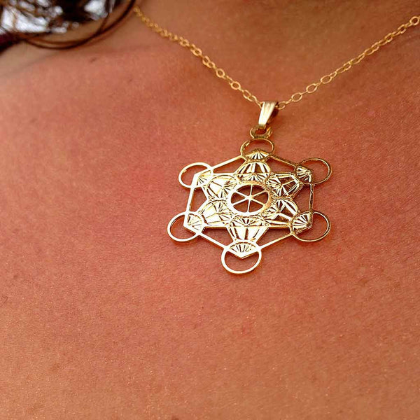 Metatron Cube - Gold Plated Pendant