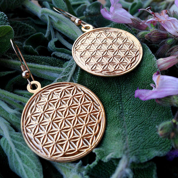 Engraved Flower of Life - Gold Plated Earrings