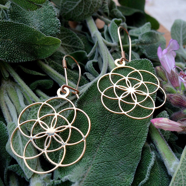 Seed of Life - Gold Plated Earrings