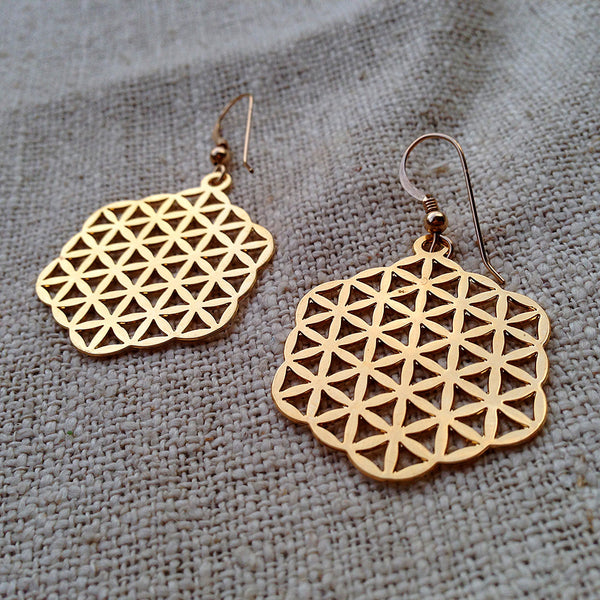 Flower of Life - Gold Plated Earrings
