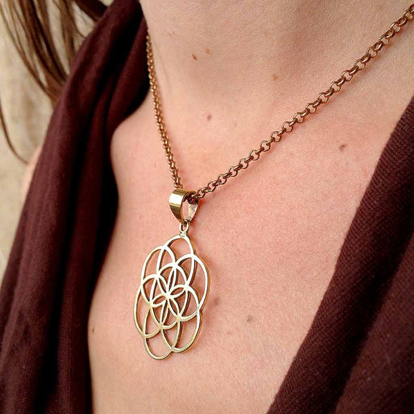 Seed of Life Brass Necklace (Large)