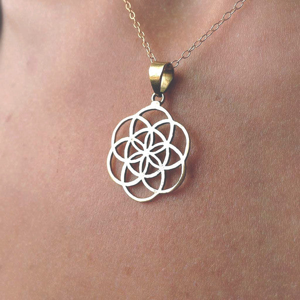 Seed of Life Brass Necklace (Small)